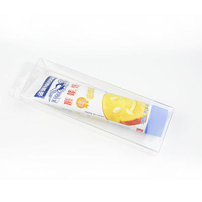 Transparent plastic folding box packaging for toothpaste