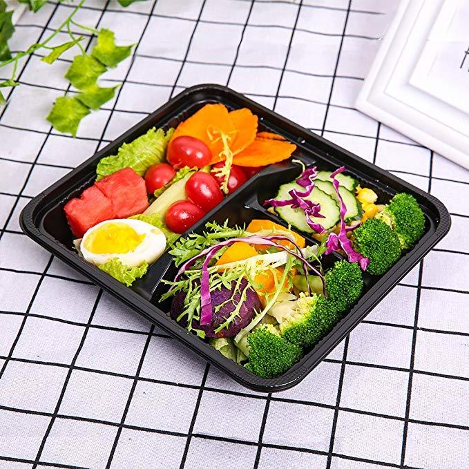 32OZ Disposable Plastic Microwave 3 Compartment Lunch Box