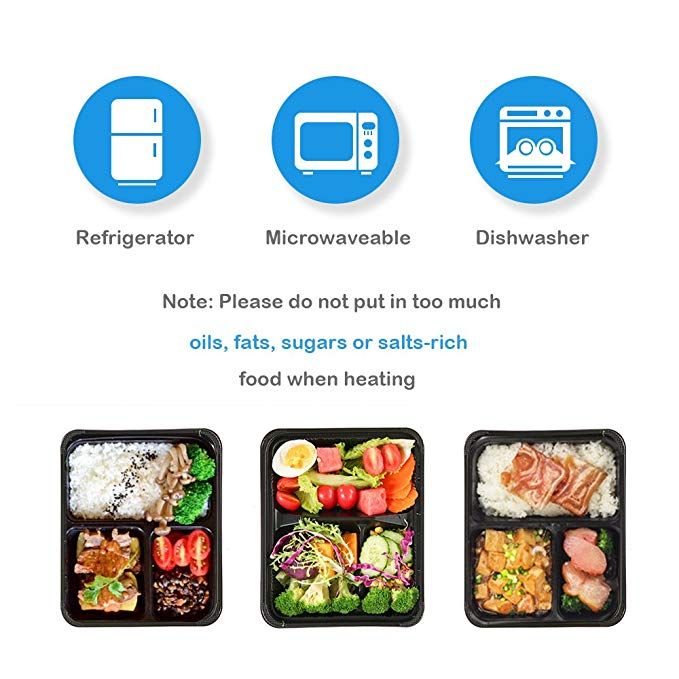 Jiamu-Blister Packaging, 32oz Disposable Plastic Microwave 3 Compartment Lunch Box-4