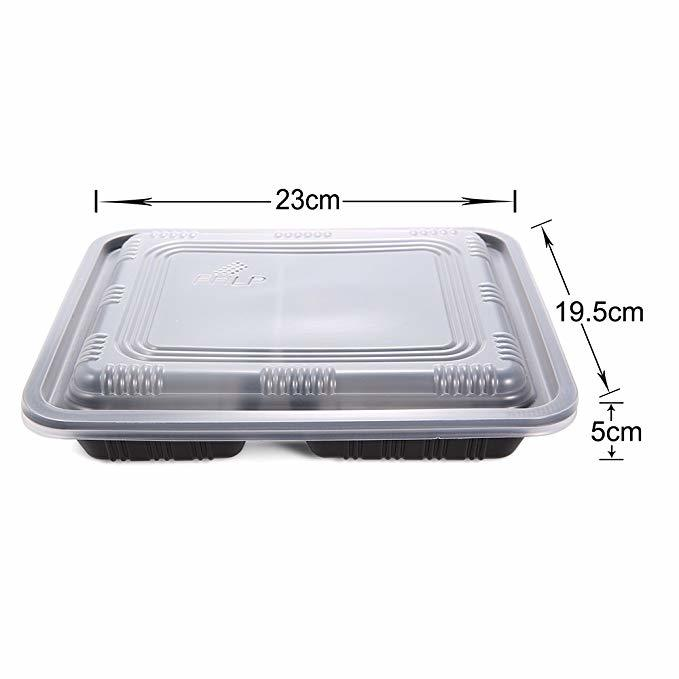 Jiamu-Blister Packaging, 32oz Disposable Plastic Microwave 3 Compartment Lunch Box-2